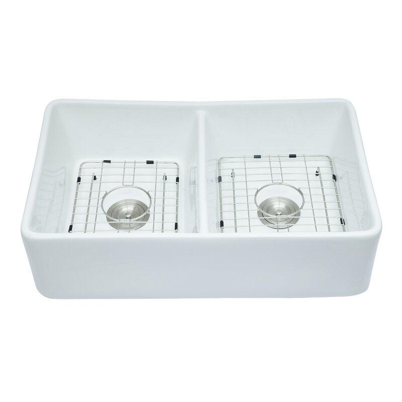 Dimakai Porcelain Ceramic Fireclay 32 L X 20 W Double Basin Farmhouse Kitchen Sink Wayfair