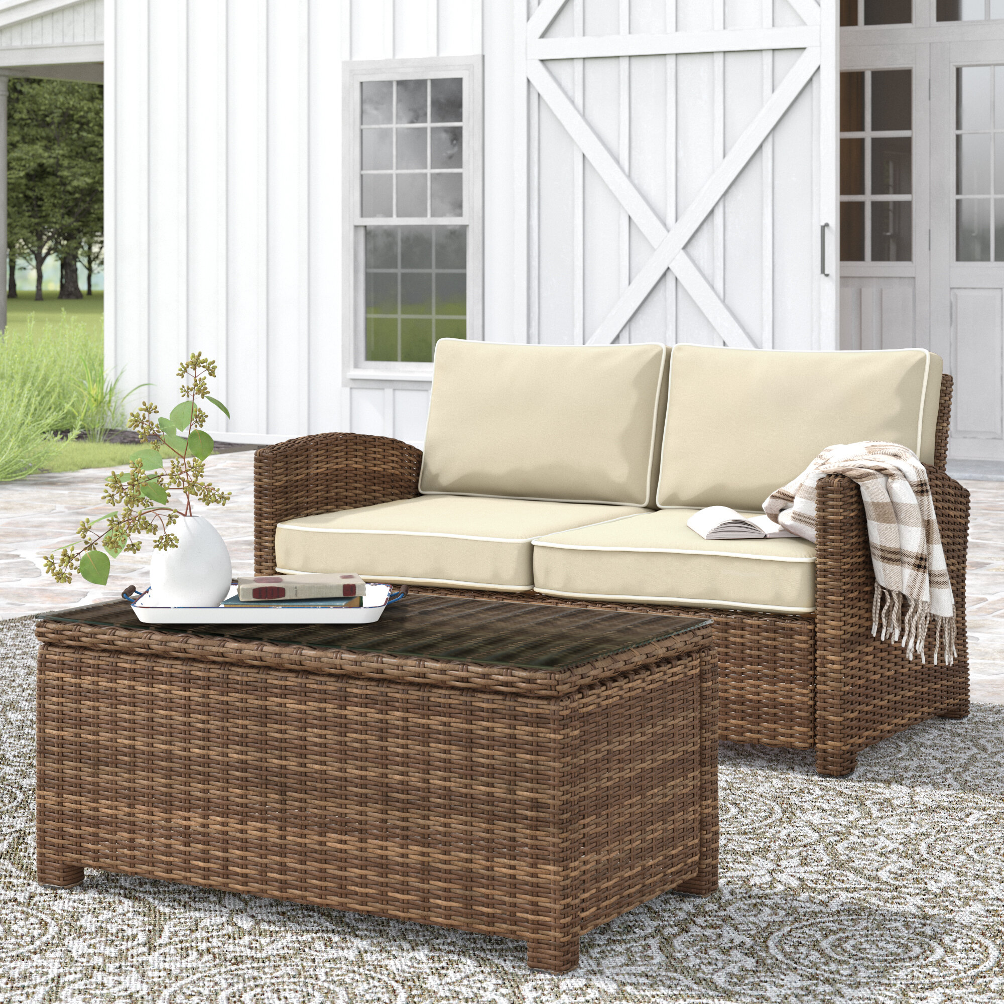 Lawson 2 Piece Rattan Sofa Seating Group With Cushions Reviews Birch Lane