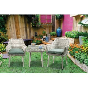 Bungalow Rose Randle 3 Piece Bistro Set with Cushions