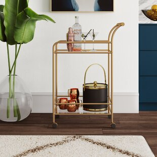Wickliffe Glass and Metal Bar Cart by Mercury Row
