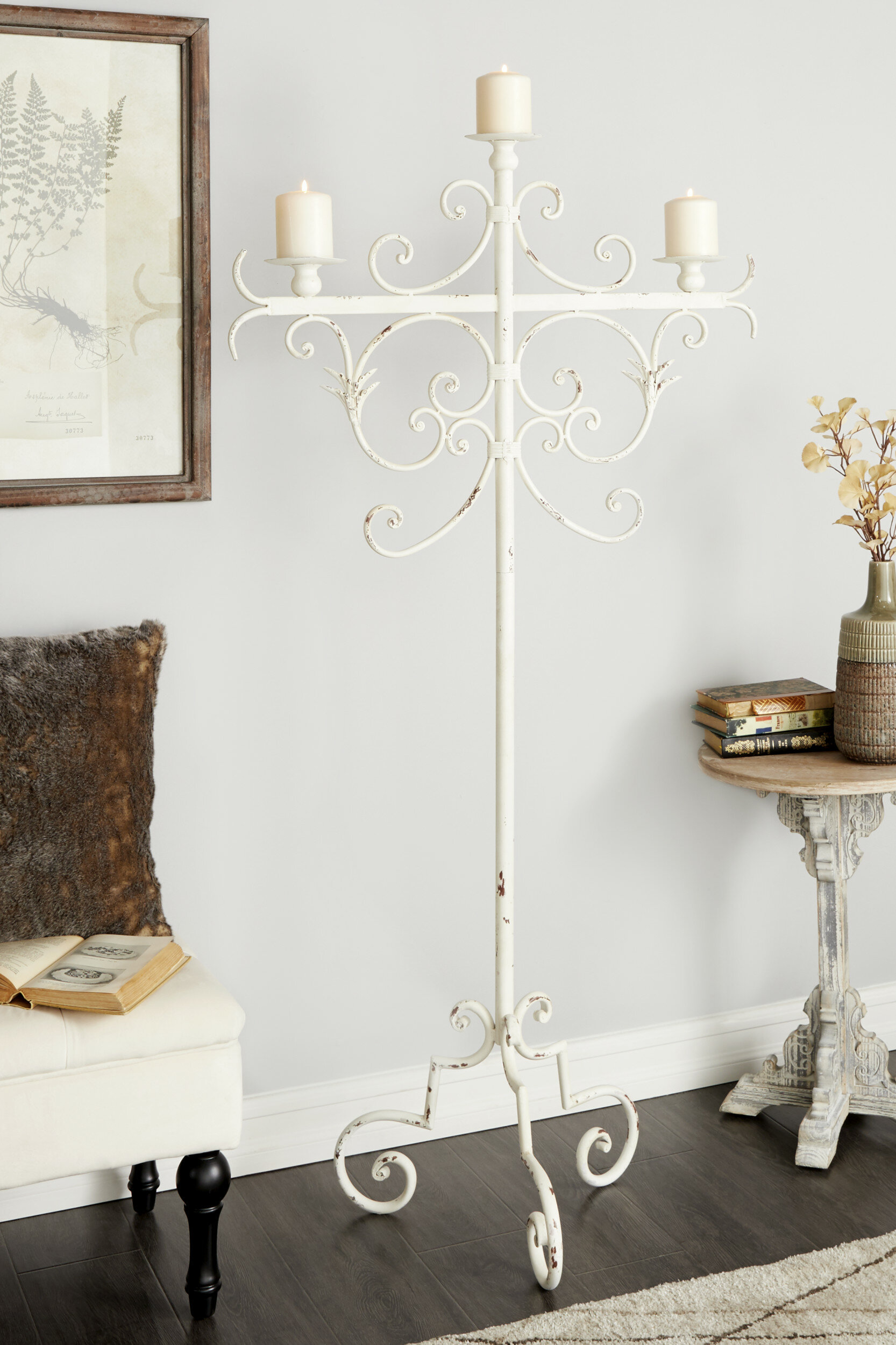 Cole Grey Tall Vintage White Metal Floor Candle Holder With Scrolled Tripod Base 29 X 59 Wayfair