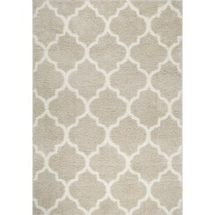 Inexpensive McSpadden Trellis Gray/White Area Rug with Rug Pad By House of Hampton