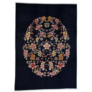 Affordable Lindon Chinese Deco Hand-Knotted Balck Area Rug ByCanora Grey