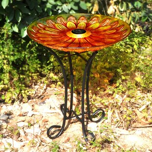 Hi-Line Gift Ltd. Floral Glass Solar Birdbath with Stand