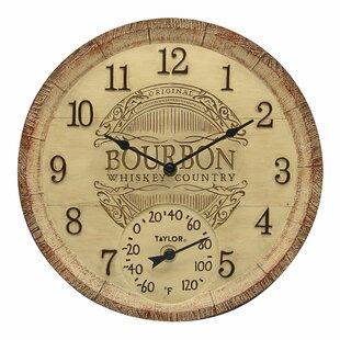Clock Bourbon Barrel With Thermometer By Taylor