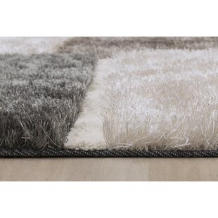 Affordable Contemporary Shaggy Hand-Tufted White/Gray/Black Area Rug ByLYKE Home