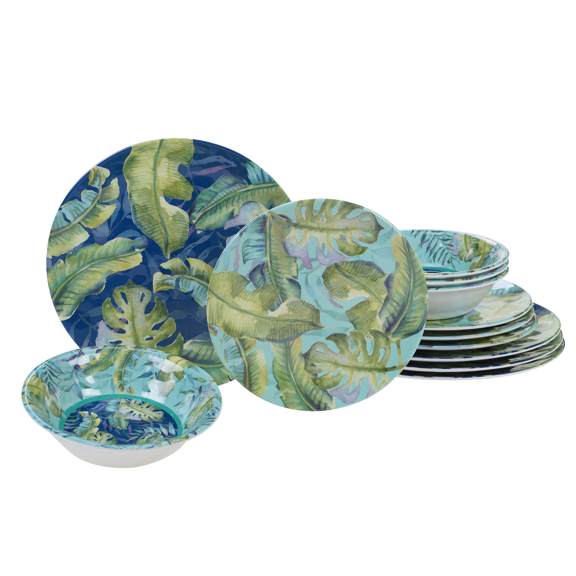 6 Nautica Pineapple Melamine Dinner Plate Set Teal Palm Leaves Bamboo Tropical