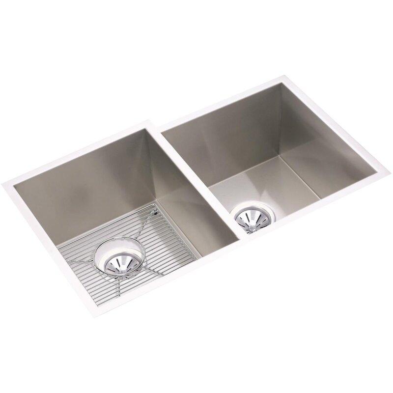 crosstown 31   x 21   double basin undermount kitchen sink with sink grid and drain elkay crosstown 31   x 21   double basin undermount kitchen sink      rh   wayfair com