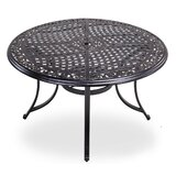 48 inch Round Patio Dining Table With Umbrella Hole- Aluminum Top Outdoor Furniture