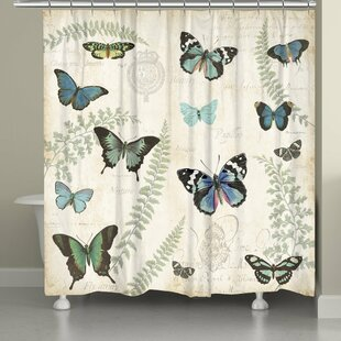 Comparison Clary Butterfly Naturelle Shower Curtain ByAugust Grove
