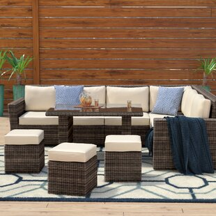 Dengler 8 Piece Rattan Sectional Set with Cushions