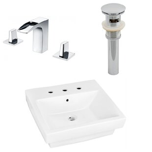 Where buy  Ceramic Rectangular Bathroom Sink with Faucet and Overflow By American Imaginations