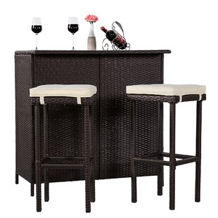 Melania Wicker Outdoor 3 Piece Bar Set