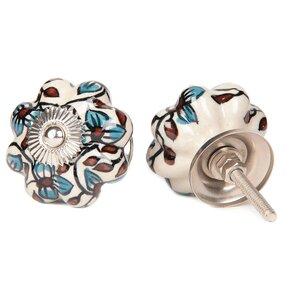 Handpainted Flower Novelty Knob (Set of 2)