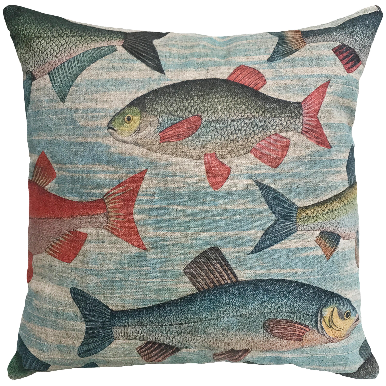 Breakwater Bay Pickett Fish Linen Throw Pillow Wayfair