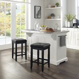 Gael Kitchen Island Set with Stainless Steel Top by Canora Grey