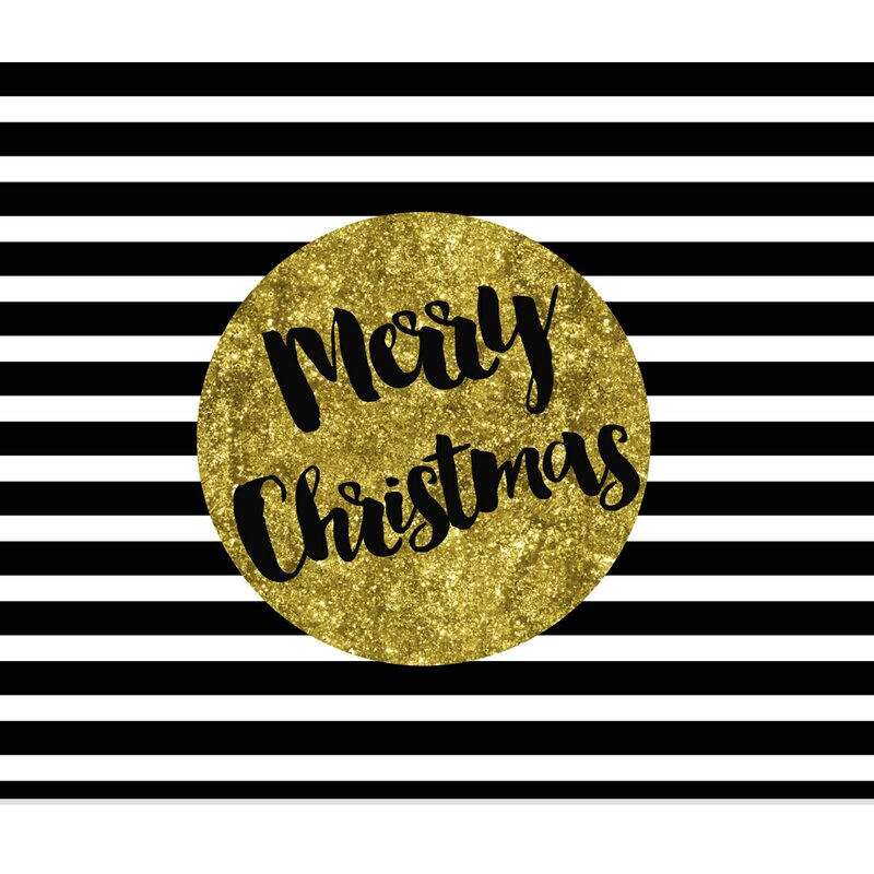 Black White And Gold Merry Christmas Graphic Art