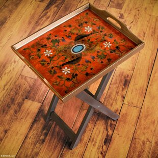 OReilly Reverse Painted Glass Folding Tray Table by World Menagerie