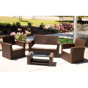 Hope 4 Piece Rattan Sofa Set with Cushions