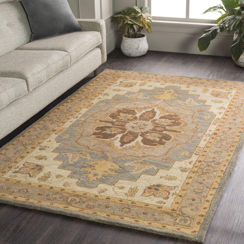 Charlton Home Dussault Oriental Handmade Tufted Wool Charcoal Khaki Area Rug Reviews Wayfair
