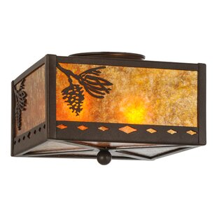 Meyda Tiffany Diamond Mission Winter Pine 2-Light Flush Mount