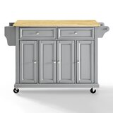 Hedon Kitchen Island with Natural Wood Top by Crosley