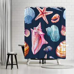Sam Nagel Seashells Repeat Tile Single Shower Curtain