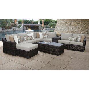Kathy Ireland Homes Gardens River Brook 10 Piece Outdoor Wicker Patio Furniture Set 10b