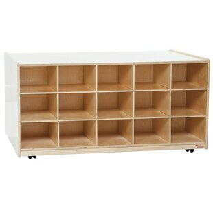 Affordable Price Island 30 Compartment Cubby with Casters By Wood Designs