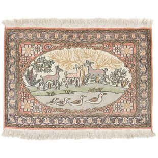 Ridley Hand Knotted Orange/Light Grey Rug by World Menagerie