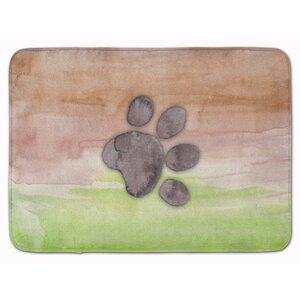 Harriett Dog Paw Watercolor Memory Foam Bath Rug