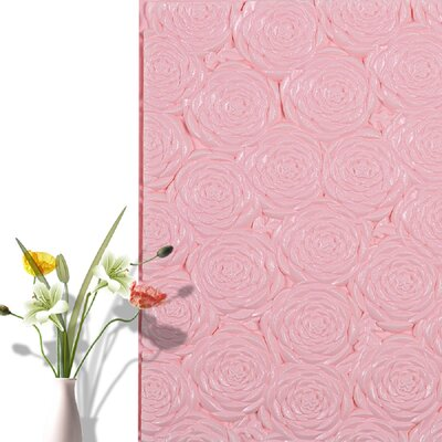28.4 x 28.4 Peel and Stick Vinyl Wall Paneling e-Joy Color: Pink