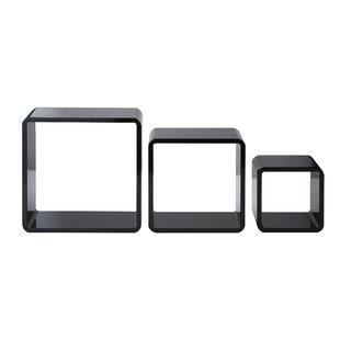 Kelling High Gloss Cubes 3 Piece Wall Shelf Set