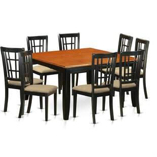 Pilcher 9  Piece Butterfly Leafv Rubber Solid Wood Dining Set