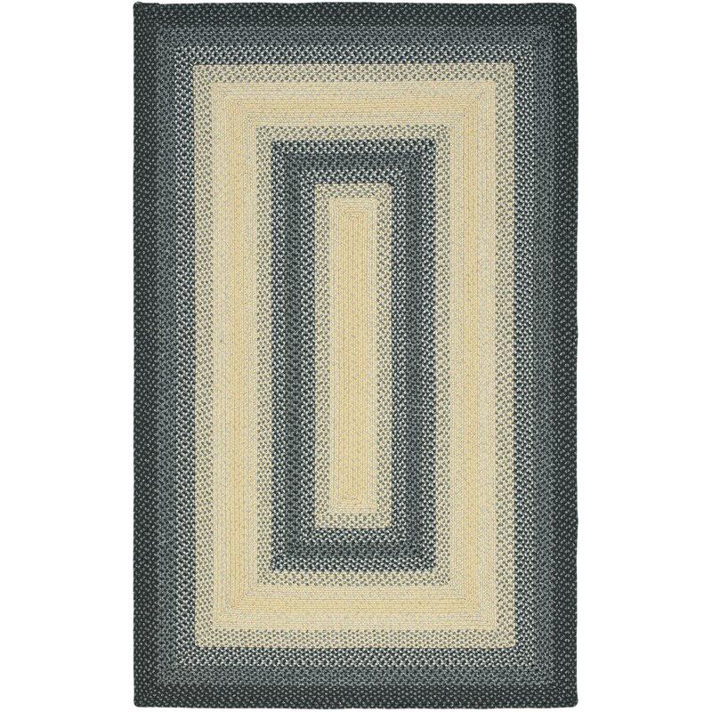 August Grove Georgina Hand-Braided Black/Grey Area Rug, Size: Rectangle 9 x 12