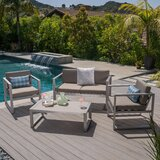 Mirando Outdoor 4 Piece Sofa Set with Cushions by Mercury Row®