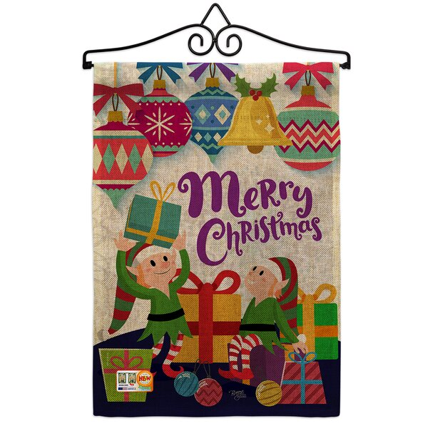 Breeze Decor Santa Helper Merry Christmas Winter 2 Sided Burlap 19 X 13 In Garden Flag Wayfair