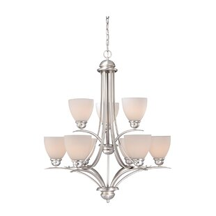 Andover Mills Bourbon 9-Light Shaded Chandelier