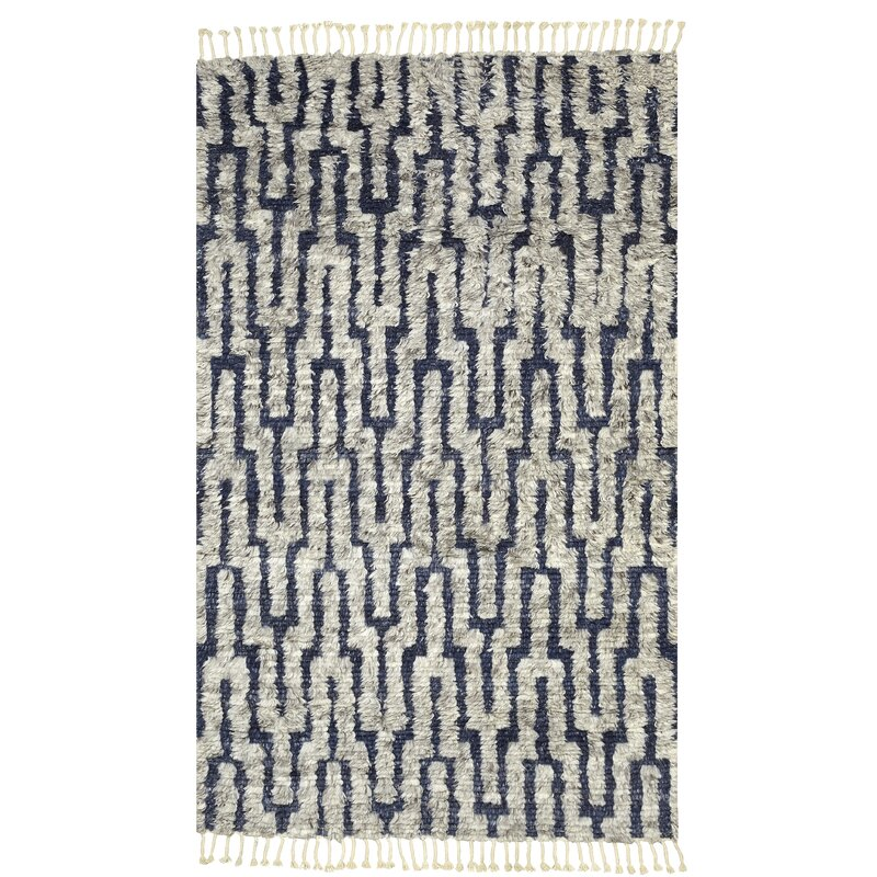 Hand Knotted Wool Navy Beige Area Rug