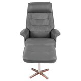 Rozlynn Leather Manual Swivel Recliner with Ottoman by Latitude Run®
