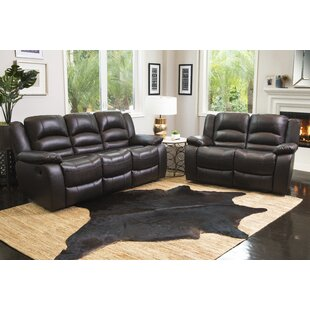 Darby Home Co Jorgensen Reclining 2 Piece Leather Living Room Set