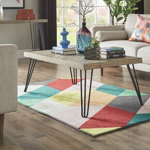 Wrought Studio Lampley Wood and Metal 3 Piece Coffee Table Set