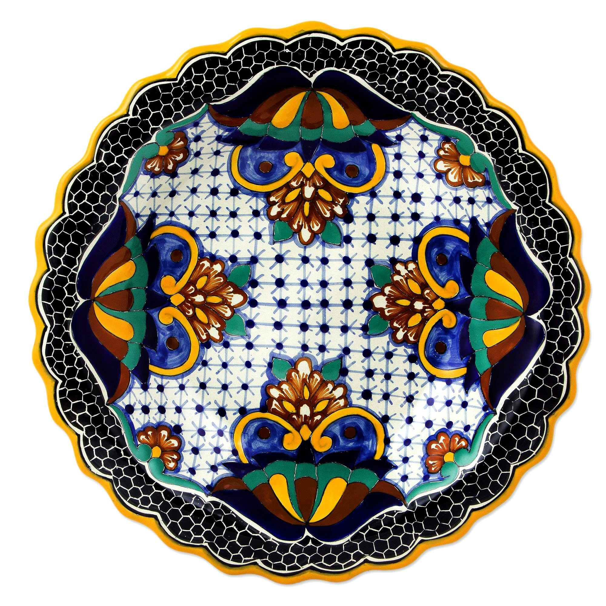 Bloomsbury Market Alfonsi Artisan Crafted Talavera Ceramic Floral Serving Tray Wayfair