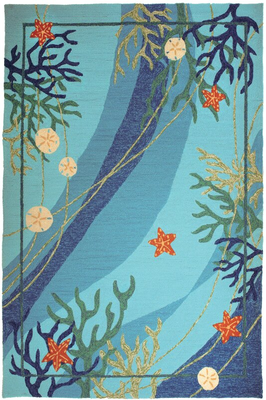 Underwater Blue Coral and Starfish Rug