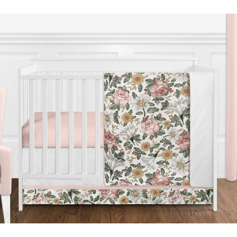 Vintage Fl 4 Piece Crib Bedding Set