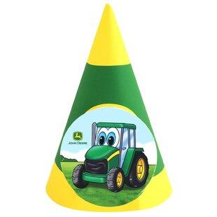 John Deere- Johnny Tractor Paper Disposable Cone Hat (Set of 8)