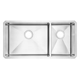 Pekoe 35 L x 18 W Double Basin Undermount Kitchen Sink with Grid and Drain