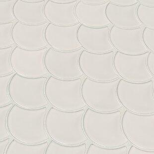 Domino Fish Scale Mesh Random Sized Porcelain Mosaic Tile