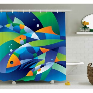 Keeney Abstract Digital Geometric Pieced Fish With Circle Curves Depths of Ocean Decor Single Shower Curtain