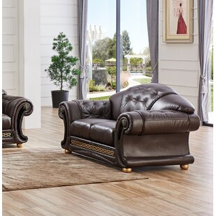 Alexzander Leather Loveseat by Astoria Gr..